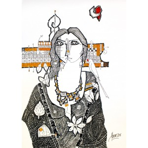 Abrar Ahmed ,11 x 14 Inch, Pen & Ink on Paper, Figurative Painting, AC-AA-038
