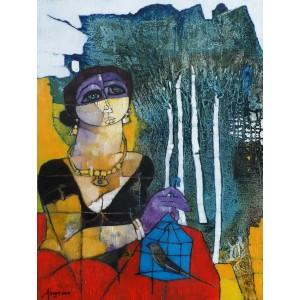 Abrar Ahmed ,18 x 24 Inch, Oil on Canvas, Figurative Painting, AC-AA-024-EXB-010