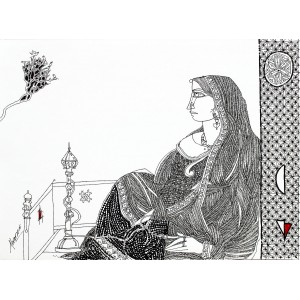 Abrar Ahmed , 11 x 15 Inch, Pen & Ink on Paper, Figurative Painting, AC-AA-044(EXB-16)