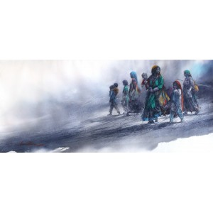 Ali Abbas, 20 x 45 Inch, Watercolor on Paper, Figurative Painting, AC-AAB-111