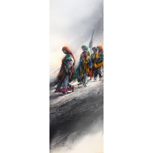 Ali Abbas, 30 x 11 Inch, Watercolor on Paper, Figurative Painting, AC-AAB-208