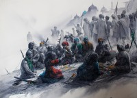 Ali Abbas, Orchestra of the Nomads, 26 x 35, Watercolor on Paper, Figurative, Exhibition Painting-02