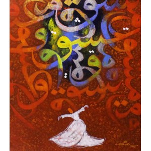 Anwer Sheikh, 29 x 24 Inch, Oil on Canvas, Calligraphy Painting, AC-ANS-016