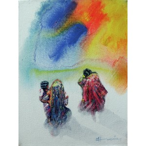 Hussain Chandio, 12 x 14 Inch, Acrylic on Canvas, Figurative Painting-AC-HC-092