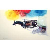 Hussain Chandio, Acrylic on Canvas, 30 x 60 Inch, Horse Painting-AC-HC-007