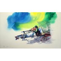 Hussain Chandio, Acrylic on Canvas, 36 x 60 Inch, Horse Painting-AC-HC-009