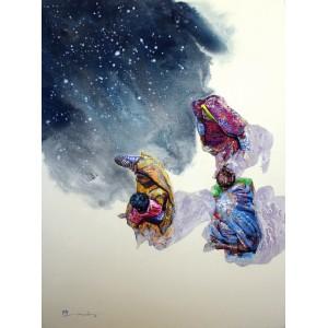 Hussain Chandio, Acrylic on Canvas, 36 x 48 Inch, Figurative Painting-AC-HC-012