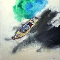 Hussain Chandio, Acrylic on Canvas, 55 x 55 Inch, Figurative Painting-AC-HC-016