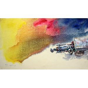Hussain Chandio, Acrylic on Canvas, 14 x 24 Inch, Figurative Painting-AC-HC-022