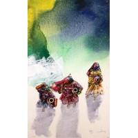Hussain Chandio, Acrylic on Canvas, 14 x 24 Inch, Figurative Painting-AC-HC-035