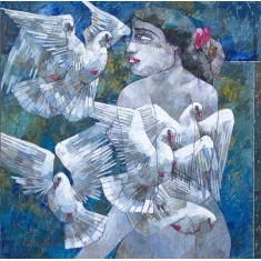 Iqbal Durrani, Fluttering Dreams - 36 x 36 in - Oil on Canvas, Figurative Painting, AC-IQD-169