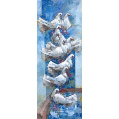 Iqbal Durrani, Water Fountain- 18 x 48 in - Oil on Canvas, Figurative Painting, AC-IQD-158