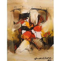 Mashkoor Raza, 16 x 12 Inch, Oil on Canvas, Abstract Painting, AC-MR-447