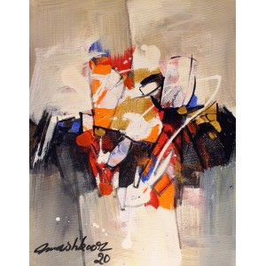 Mashkoor Raza, 16 x 12 Inch, Oil on Canvas, Abstract Painting, AC-MR-429