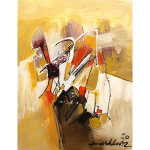 Mashkoor Raza, 16 x 12 Inch, Oil on Canvas, Abstract Painting, AC-MR-439