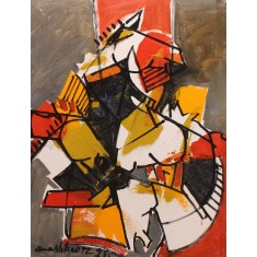 Mashkoor Raza, 16 x 12 Inch, Oil on Canvas, Abstract Painting, AC-MR-448