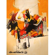 Mashkoor Raza, 16 x 12 Inch, Oil on Canvas, Abstract Painting, AC-MR-453