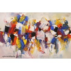 Mashkoor Raza, 24 x 36 Inch, Oil on Canvas, Abstract Painting, AC-MR-446