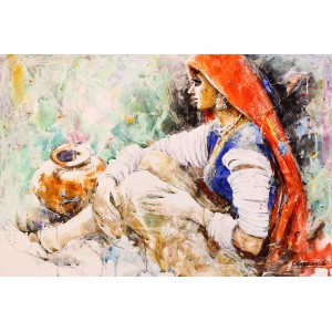 Moazzam Ali, 29 x 42 Inch, Watercolor on Paper, Figurative Painting, AC-MOZ-072