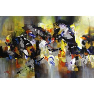 S. M. Naqvi, 24 x 48 Inch, Acrylic on Canvas, Abstract Painting, AC-SMN-126
