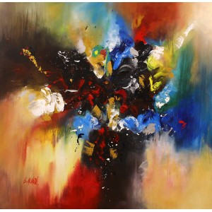S. M. Naqvi, 48 x 48 Inch, Acrylic on Canvas, Abstract Painting, AC-SMN-128