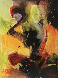 S. M. Naqvi, Acrylic on Canvas, 10  x 14 Inch, Abstract Painting, AC-SMN-035