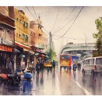 Sarfraz Musawir, Old Anarkali Lahore-I, Watercolor, 15x17 Inch, Cityscape Painting