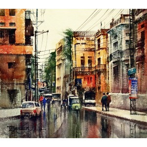 Sarfraz Musawir, Walled City Lahore-I, Watercolor, 15x17 Inch,Cityscape Painting