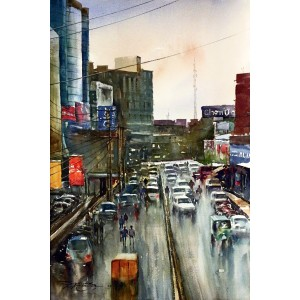 Sarfraz Musawir, Hafeez Centre Lahore, Watercolor , 15x22 Inch, Cityscape Painting
