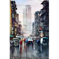 Sarfraz Musawir, MCB Building Karachi, Watercolor, 15x22 Inch,Cityscape Painting