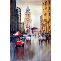 Sarfraz Musawir, Empress Market Karachi, Watercolor , 15x22 Inch, Cityscape Painting
