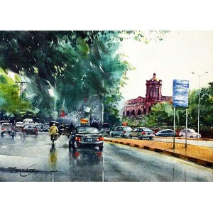 Sarfraz Musawir, Mall Road Lahore, Watercolor, 22x30 Inch,Cityscape Painting