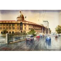 Sarfraz Musawir, Karachi Port Trust Building, Watercolor, 27x40 Inch,Cityscape, Painting, AC-SAR-043(EXB-019)