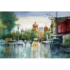 Sarfraz Musawir, Neela Gumbad Lahore, Watercolor, 27x40 Inch,Cityscape Painting
