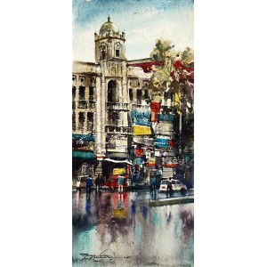 Sarfraz Musawir, Hall Road Lahore, Watercolor , 10x22 Inch, Cityscape Painting