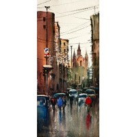 Sarfraz Musawir, Saddar Karachi, Watercolor, 10x22 Inch, Cityscape Painting