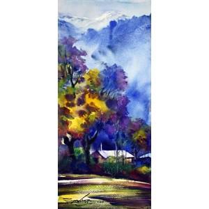 Sarfraz Musawir, Northern Pakistan II, Watercolor, 10x22 Inch, Cityscape Painting, AC-SAR-054(EXB-030)