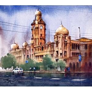 Sarfraz Musawir, KMC Karachi, Watercolor , 15x17 Inch, Cityscape Painting