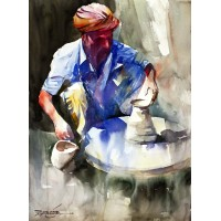 Sarfraz Musawir, Potter, Watercolor, 22x30 Inch, Cityscape Painting, AC-SAR-058(EXB-034)