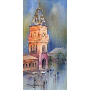Sarfraz Musawir, Empress Market Karachi II, Watercolor, 07x15 Inch, Cityscape  Painting