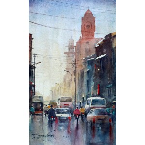 Sarfraz Musawir, Watercolor on Paper, 9x15 Inch, Cityscape Painting, AC-SAR-061
