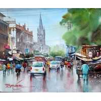 Sarfraz Musawir, Watercolor on Paper, 13x15 Inch, Cityscape Painting, AC-SAR-064