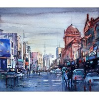 Sarfraz Musawir, Watercolor on Paper, 13x15 Inch, Cityscape Painting, AC-SAR-065