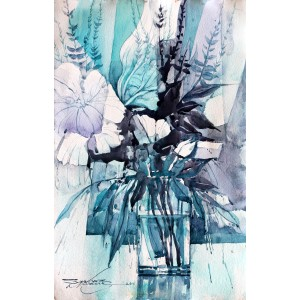 Sarfraz Musawir, Watercolor on Paper, 11x15 Inch, Floral Painting, AC-SAR-070