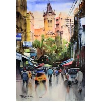 Sarfraz Musawir, Empress Market Karachi IV, Watercolor on Paper, 15x22 Inch, Cityscape Painting, AC-SAR-075