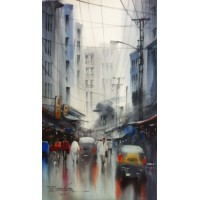 Sarfraz Musawir, Watercolor on Paper, 9x15 Inch, Cityscape Painting, AC-SAR-076