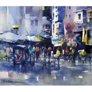 Sarfraz Musawir, 13 x 15 inch, Watercolor on Paper,  Cityscape Painting, AC-SAR-007