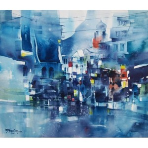 Sarfraz Musawir, 13 x 15 inch, Watercolor on Paper,  Cityscape Painting, AC-SAR-008