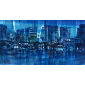 Sarfraz Musawir, 12 x 22 inch,  Watercolor on Paper,  Cityscape Painting, AC-SAR-011