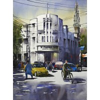 Sarfraz Musawir, Mall Road Lahore, 11 x15 Inch, Watercolor on Paper, Cityscape Painting, AC-SAR-079